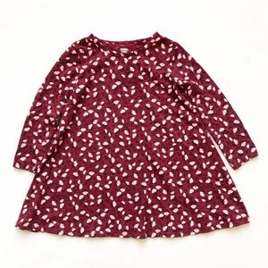 Old Navy burgundy floral print swing dress GUC 5T